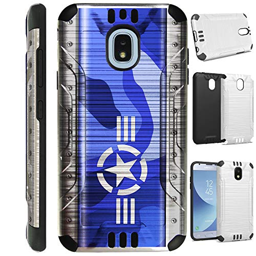 (for Samsung Galaxy J7V J737 (2018) | J7 Aero | J7 Top Star | J7 Refine | J7 Crown | J7 Aura | J7 Eon Case Brushed Metal Texture Hybrid TPU Silver Guard Phone Cover (Air Force Star))