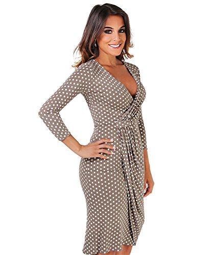 Womens 3/4 Sleeve Casual Simple Polka Dot Midi Wrap Chic Knee Length Dress (M, Mocha)