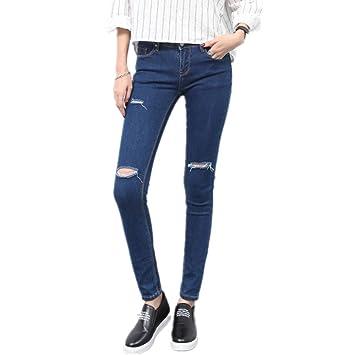 Yishishi Pantalones Vaqueros de Las señoras Pantalones ...