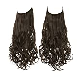 SARLA Halo Hair Extensions Long Wavy Curly Synthetic Hair Piece for Women Adjustable Size Transparent Wire Headband Heat Friendly Fiber 22 Inch 5.3 Oz No Clip (M01-22&8B)