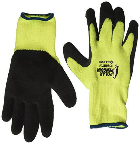 Majestic Polar Penguin 3396HY Winter Lined Hi-Vis Green Yellow Latex Coated Palm Gloves Size Large (12 Pair)]()