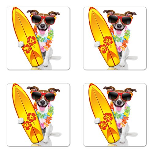 (Ambesonne Ride The Wave Coaster Set of Four, Surfer Puppy with Sunglasses and Tropical Hibiscus Flowers Hawaiian Dog Print, Square Hardboard Gloss Coasters for Drinks, Multicolor)