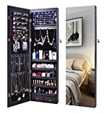Mirror Jewelry Armoire Cabinet Storage Stand 6 LED Light, Wall Mounted Organizer