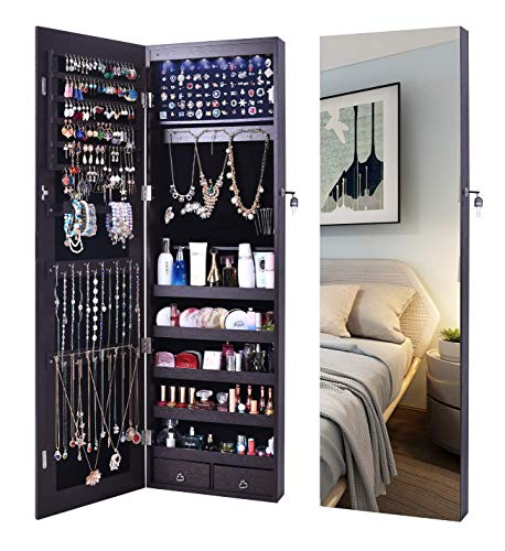 AOOU Jewelry Organizer Jewelry Cabinet,Wall Mounted Jewelry Organizer with Mirror, Full Length Mirror,Large Capacity Dressing Makeup Jewery Mirror Jewelry Armoire,Brown ()