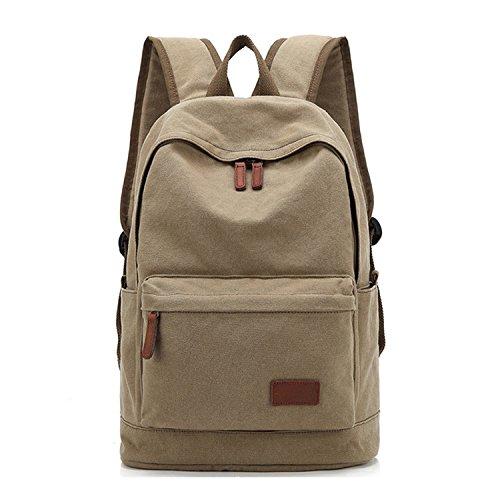 Unique Stylish High-capacity Zipper Canvas Casual Laptop Bag Shoulder Bag Travel Bag (Khaki) - 1