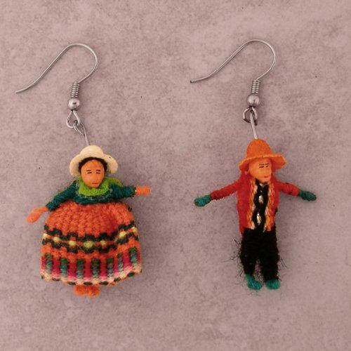 Earrings Two Worry Dolls Boy Girl Peru Fair Trade (Peru Costume Boy)