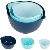 E-HOME BPA Free Plastic Mixing Bowls with Pour Spout Set of 3 (Blue)
