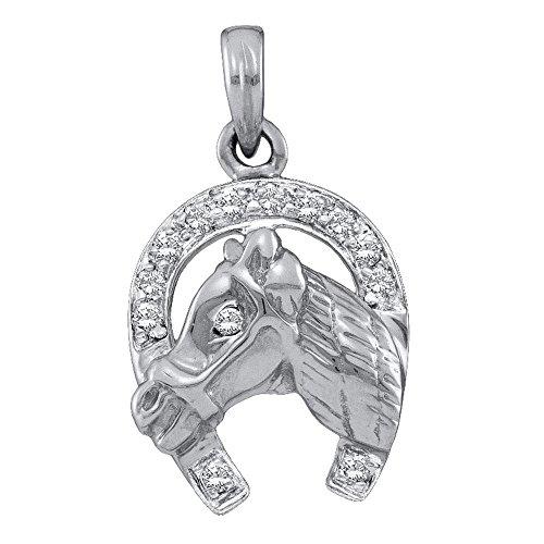 Diamond Boys Head Charm - 14k White Gold Diamond Horseshoe Horse Head Pendant Good Luck Charm Fashion Style Polished 1/10 Cttw