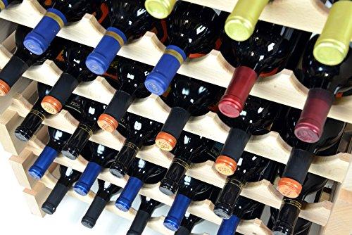 Modular Wine Rack Beechwood 48-144 Bottle Capacity 12 Bottles Across up to 12 Rows Newest Improved Model (120 Bottles - 10 Rows) by sfDisplay.com,LLC. (Image #4)