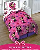 Disney Minnie Mouse Twin 4 Piece Bedding Set with Tote - Reversible Comforter, Sheets, Pillowcase