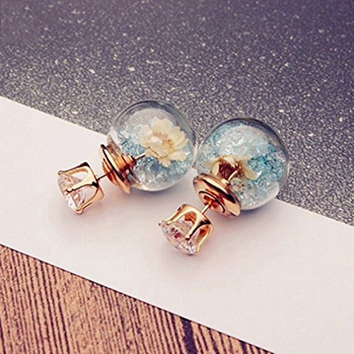 Boardwalk Empire Halloween Costume Ideas (Iumer Ball Earrings Round Flowers Spherical Wild Personalized Dried Hot Pieces Glass Ball Earrings Double-sided Female Light Blue)