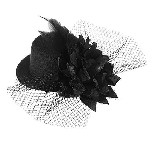 Pixnor Women's Ladies Flower Decor Hair Clip Feather Fascinator Burlesque Punk Mini Top Hat - One Size (Black)