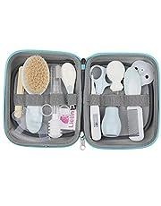 Lictin Set para Cuidado del Bebé - 15 Piezas Kit de Aseo para Bebés con Cuchara de Oreja con LED Cepillo de Pelo y Peine,Cortador de Uñas Cepillo de Dientes de Dedo para Viaje y el Uso Diario