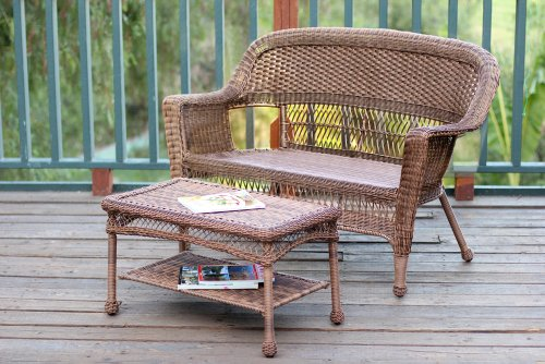 Jeco W00206-LCS Wicker Patio Love Seat and Coffee Table Set Without Cushion, White