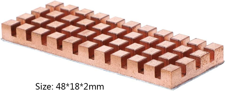48 x 18 mm Ranuw Dissipatore di calore in puro rame con adesivo termoconduttivo e scanalatura sottile per radiatore M.2 NGFF 2260 SSD per notebook 2