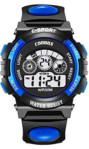 Boys Sports Digital Watch Outdoor Waterproof Watches Children Analog Quartz Wrist Watch with Alarm - Blue