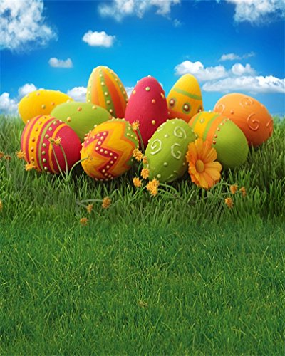 AOFOTO 4x5ft Easter Eggs Photography Backdrop Spring Meadow Photo Studio Background Outdoor Kid Child Baby Newborn Infant Girl Boy Artistic Portrait Photoshoot Props Video Drape Wallpaper