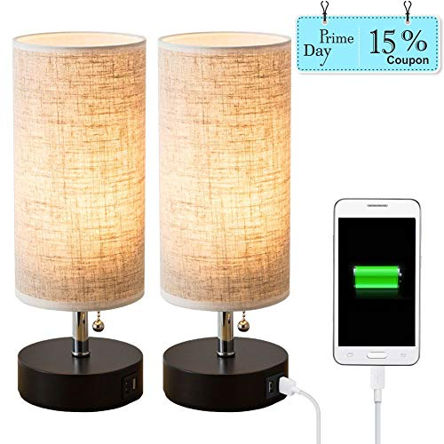 Base Lamp Light Table Night (Lifeholder Table lamp, Black Wooden Base Bedside Desk Lamp,Nightstand Lamp with Dual USB Charging Port, Bedside USB Table Lamp Perfect for Bedroom, Living Room or Office (2 Packs))