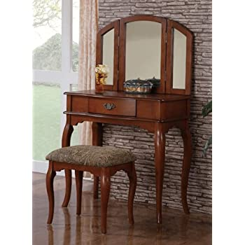 vanity set with 3 fold mirror and stool in wood finish