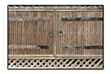 Large Bathroom Rug Wooden Gate with Metal Handle Sunlight Old House Entry Weathered Rustic Ornate Image Camel Brown Machine Washable Mats 4'x6'