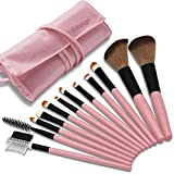 Makeup Brushes, 12 Pieces Makeup Brush Set, Professional Face Powder Brush Eye Shadow Eyeliner Foundation Brush Lip Make up Brush Powder Liquid Cream Cosmetics Brush Tool With Case (Pink)