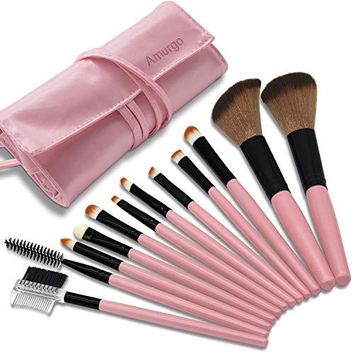 Makeup Brushes, 12 Pieces Makeup Brush Set, Professional Face Powder Brush Eye Shadow Eyeliner Foundation Brush Lip Make up Brush Powder Liquid Cream Cosmetics Brush Tool With Case (Pink) -
