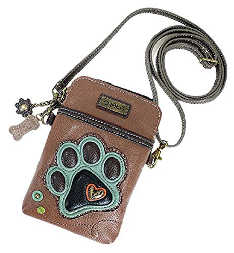 - Chala Crossbody Cell Phone Purse - Women PU Leather Multicolor Handbag with Adjustable Strap - Paw Print Brown