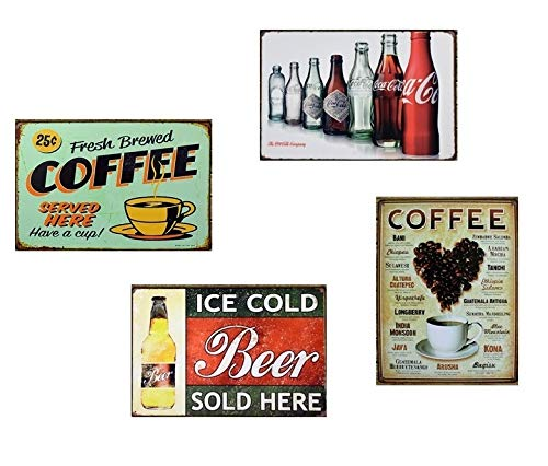 Amazon.com: H&K Fresh Brewed Coffee Retro Metal Tin Sign Posters Kitchen Café Diner Restaurant Wall Decor 12X8-Inch: Home & Kitchen