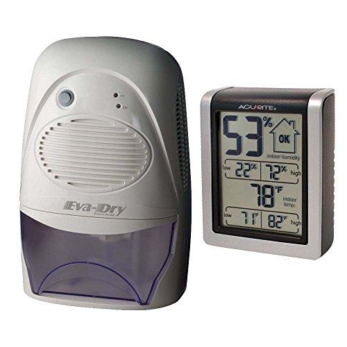 Eva-Dry Mid Size Dehumidifier White + Indoor Humidity Monitor by Eva-Dry
