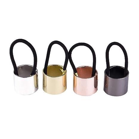 Lurrose 4 piezas de coleta sujetador de pelo lazos de metal banda de pelo diadema de