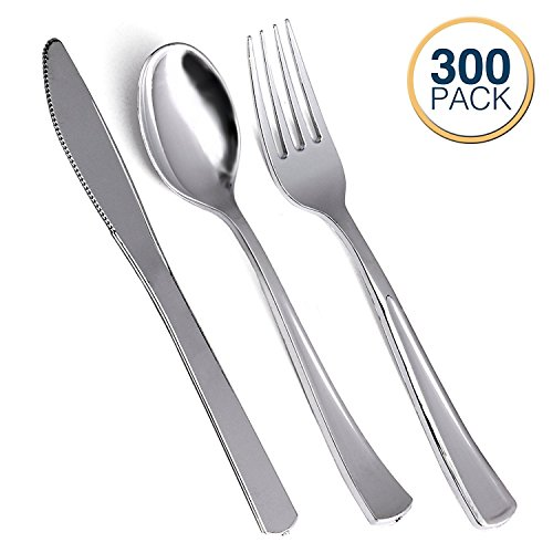 Klikel Plastic Silverware Set - 100 Person Service - 100 Each of Spoons, Forks And Knives – Heavy Duty Disposable Silver Cutlery - Elegant Reusable Paper Goods And Dinner Party Supplies