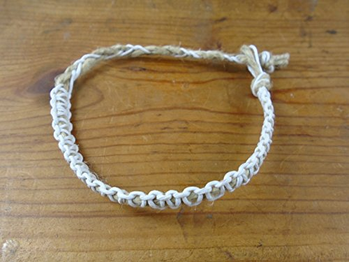 - Hemp Choker Necklace White Thick Men's or Women's Adjustable 16-20 Inches