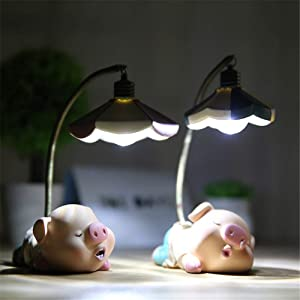 Kimkoala Cute Sleeping Pig Figures, 2 Pcs Resin Piglets Pigs with Night Lamp Action Figure Toys for Children Birthday Gift for Home Garden Decoration