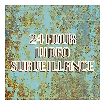 24x24 5-Pack Ghost Aged Blue Window Cling 24 Hour Video Surveillance CGSignLab