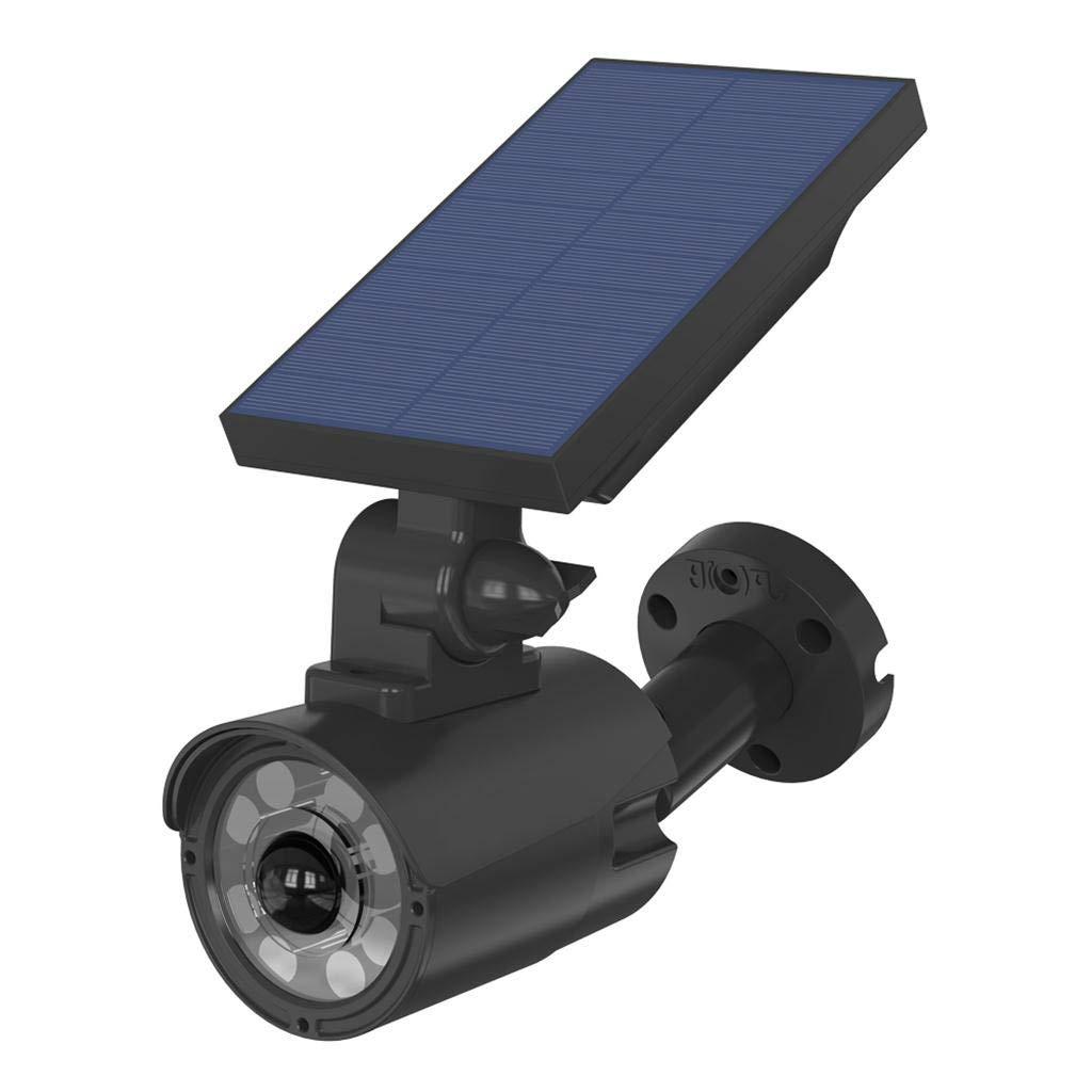 Fine Simulation Camera Wall Light,Solar Powered Dummy Surveillance Bullet Fake Camera LED Light Human Sensor and Flash Lights, Home or Business, Solar Powered Camera Light (Black)
