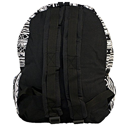 Unisex Cotton Geometric Hippie Backpack | Black and White Casual Daypack BookBag by Dominion (Image #1)