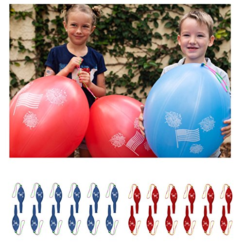 24 Patriotic Punch Balloons Best for 4th of July Party Supplies, Party Favors and Fourth of July Party Decorations - American Flag Punch Balls for Boys and (Buy Glow Necklaces)