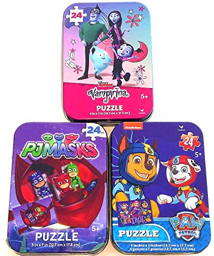 Bundle Set of 3 Mini Jigsaw Puzzles: Paw Patrol (with Skye), Vampirina, PJ Masks (Catboy Gekko Owlette) in Collectible Illustrated Travel Tins/Cases Spin Master