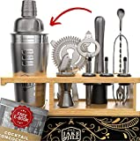 Premium Bartender Kit Engraved Recipes - 12 Piece Cocktail Shaker Set, Essential Bar Accessories, Bamboo Organizer Stand, and Bonus E-Book for Bartending Enthusiasts - The Perfect Gift by Jake & Jill