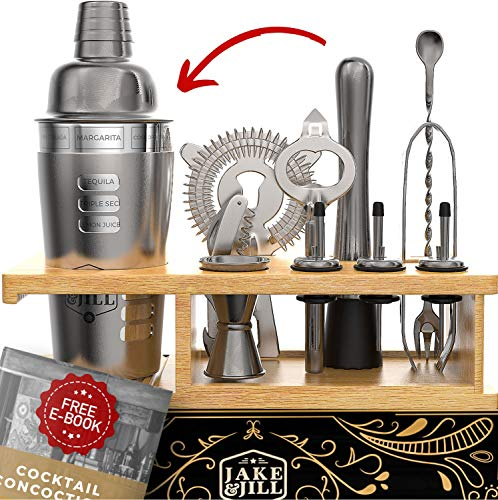 Premium Bartender Kit Engraved Recipes - 12 Piece Cocktail Shaker Set, Essential Bar Accessories, Bamboo Organizer Stand, and Bonus E-Book for Bartending Enthusiasts - The Perfect Gift by Jake & Jill by Jake & Jill (Image #7)