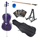 Cecilio CCO-Purple Student Cello with Soft Case, Stand, Bow, Rosin, Bridge and Extra Set of Strings, Size 4/4 (Full Size)