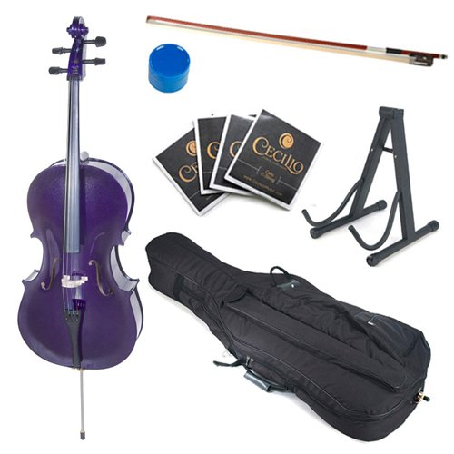 Cecilio CCO-Purple Student Cello with Soft Case, Stand, Bow, Rosin, Bridge and Extra Set of Strings, Size 4/4 (Full - Cello Purple