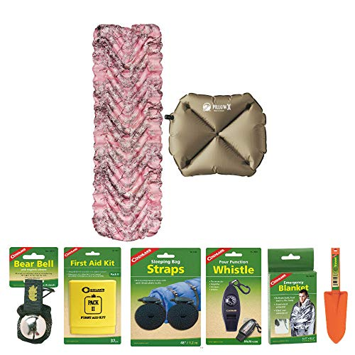 Klymit Static V Recon Lightweight Sleeping Pad (Pink Camo) with Pillow X (Tan) and Camping Essentials Kit | Emergency Blanket, Bear Bell, Whistle, First Aid Kit, and More Included in Bundle