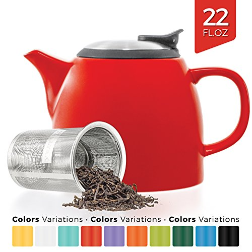 Tealyra - Drago Ceramic Small Teapot Red - 22oz (2-3 cups) - With Stainless Steel Lid and Extra-Fine Infuser for Loose Leaf Tea - Lead-free - (22 Ounce Small Teapot)