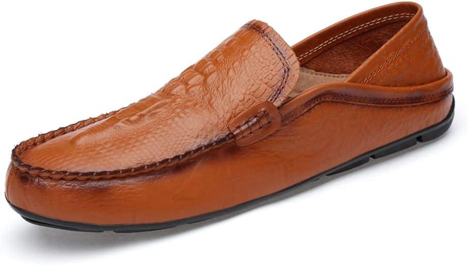 Zhulongjin Mocasines Ocasionales de los Hombres para los Hombres Mocasines de Ocio Zapatos Mocasines de Cuero Genuino Suela de Goma Ligera Textura de cocodrilo Resistente al Desgaste Moda: Amazon.es: Hogar