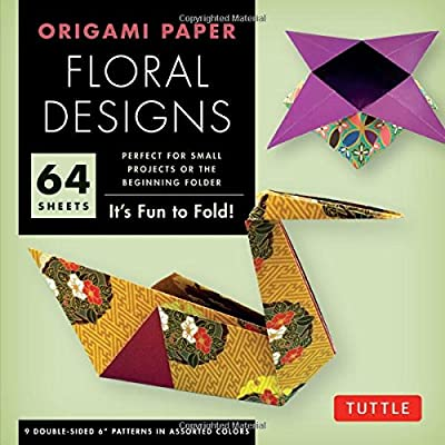 """Origami Paper - Floral Designs - 6"""" - 60 Sheets: (Tuttle Origami Paper)"""