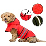 Adjustable Dog Raincoats Lightweight Dog Rain Jacket with Hood - Breathable Dog Rain Coats with Safe Reflective Stripes for Small Medium Large Dogs, Water Proof Dogs Raincoat,Red,XL