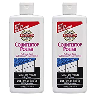 HOPE'S Premium Home Care Countertop Restoration Polish and Protector Granite, Marble, Concrete, 8 Ounce, 2 Pack, White, 2 Pack