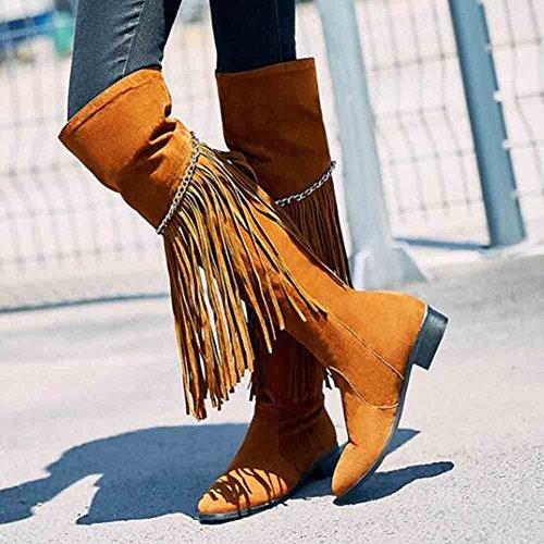 Easemax, Donna, Trendy, Frange, Catene, Frange, Tacco Alto, Tacco Grosso, Stivaletti Alti Alla Caviglia Marrone