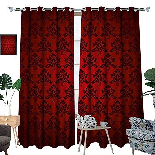 homehot Maroon Thermal Insulating Blackout Curtain Classical Antique Pattern Baroque Damask Motifs Curves Renaissance Revival Fashion Patterned Drape for Glass Door Red Black